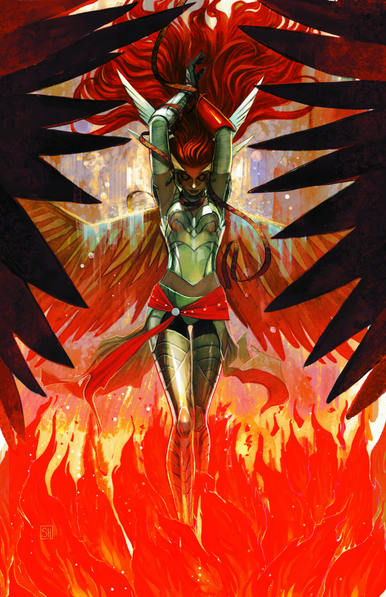 Depiction of Angela in angelic armor, surrounded by hellish fire.
