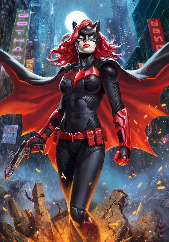Depiction of Batwoman in a stoic stance, holding a grappling gun.