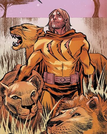 Depiction of Catman standing in a savannah surrounded by a pride of lions.