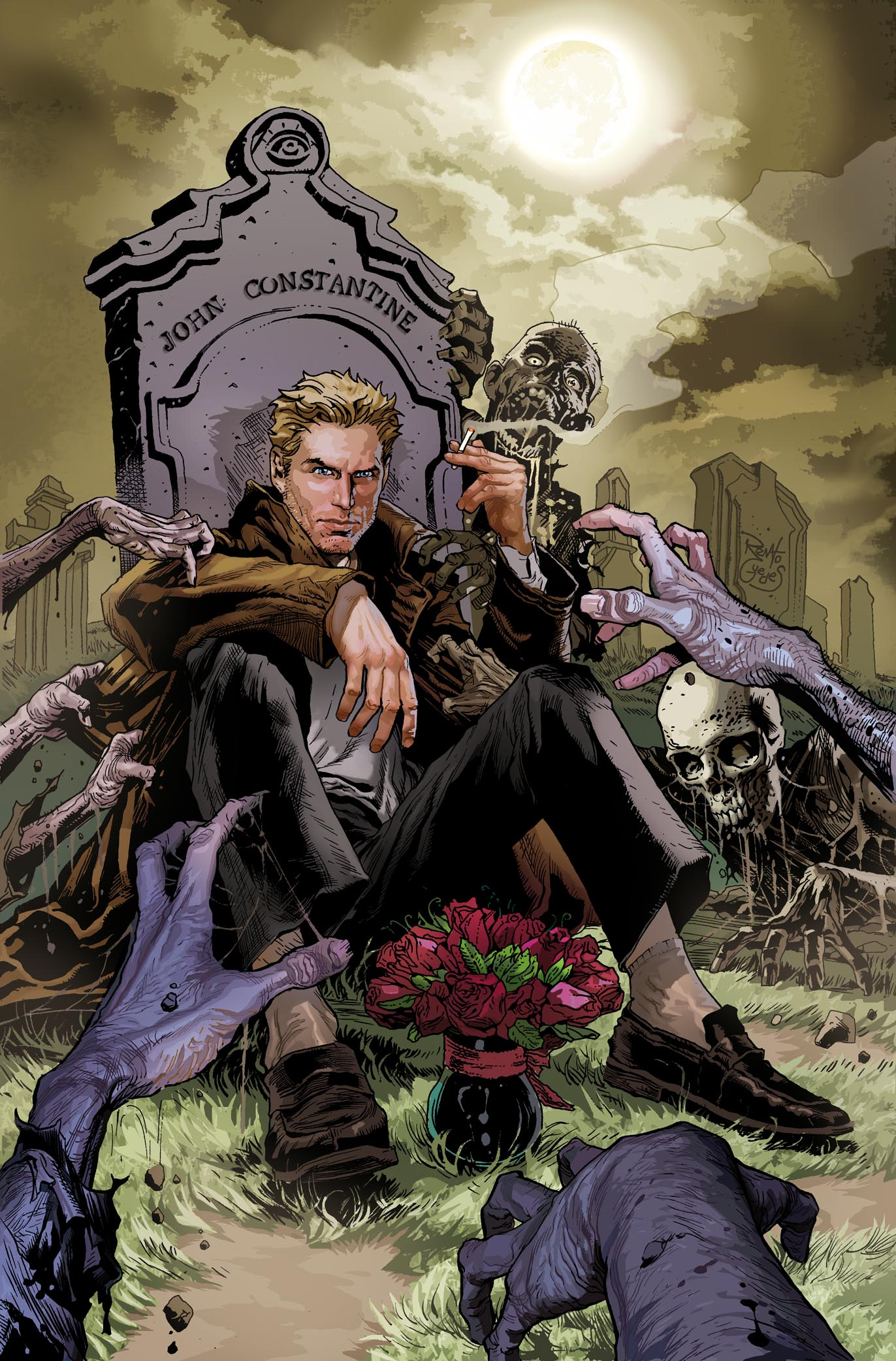 Depiction of Constantine sitting in front of his own grave surrounded by the undead.