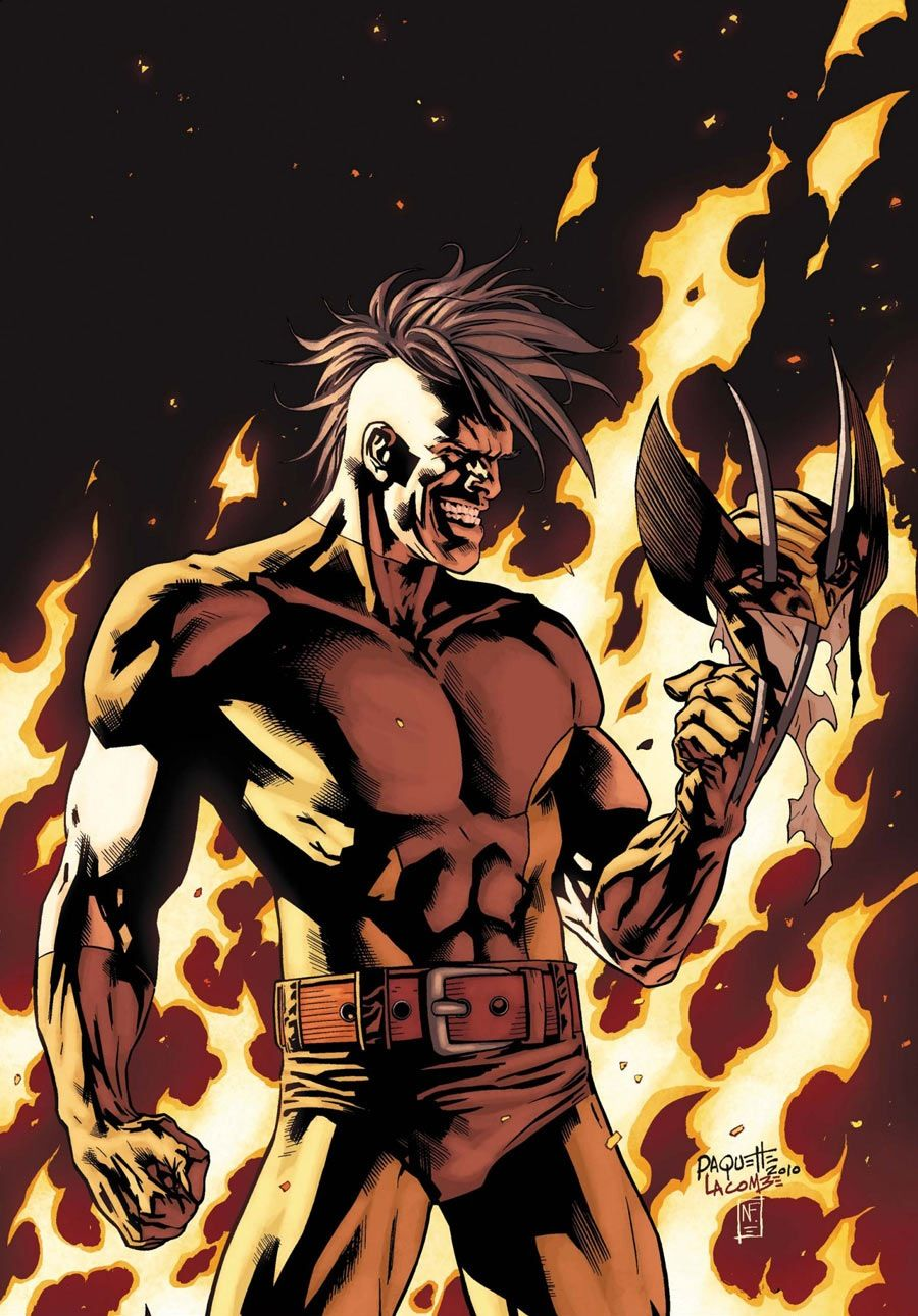 Depiction of Daken standing in front of flames while holding Wolverine's mask on his claws and smiling menacingly.