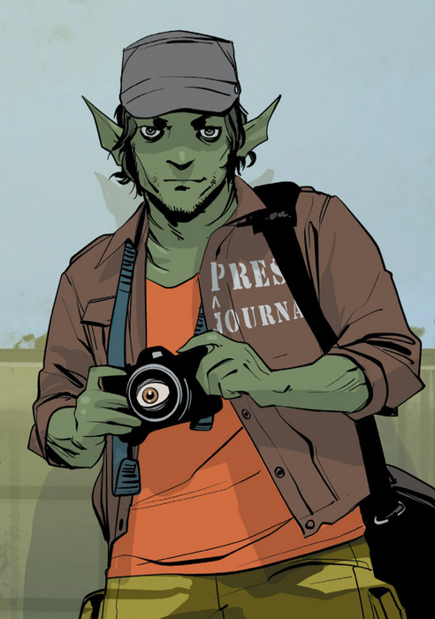 Depiction of Doff ready to shoot snap a picture with his camera.