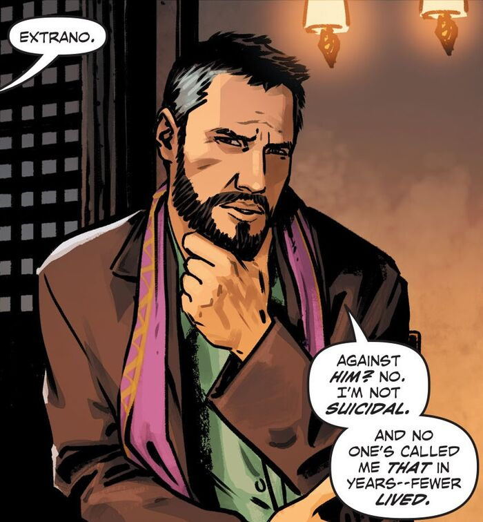 Depiction of the reinvented Extraño stroking his stylish beard mid-thought and talking in a bar. He is the first openly gay DC character.