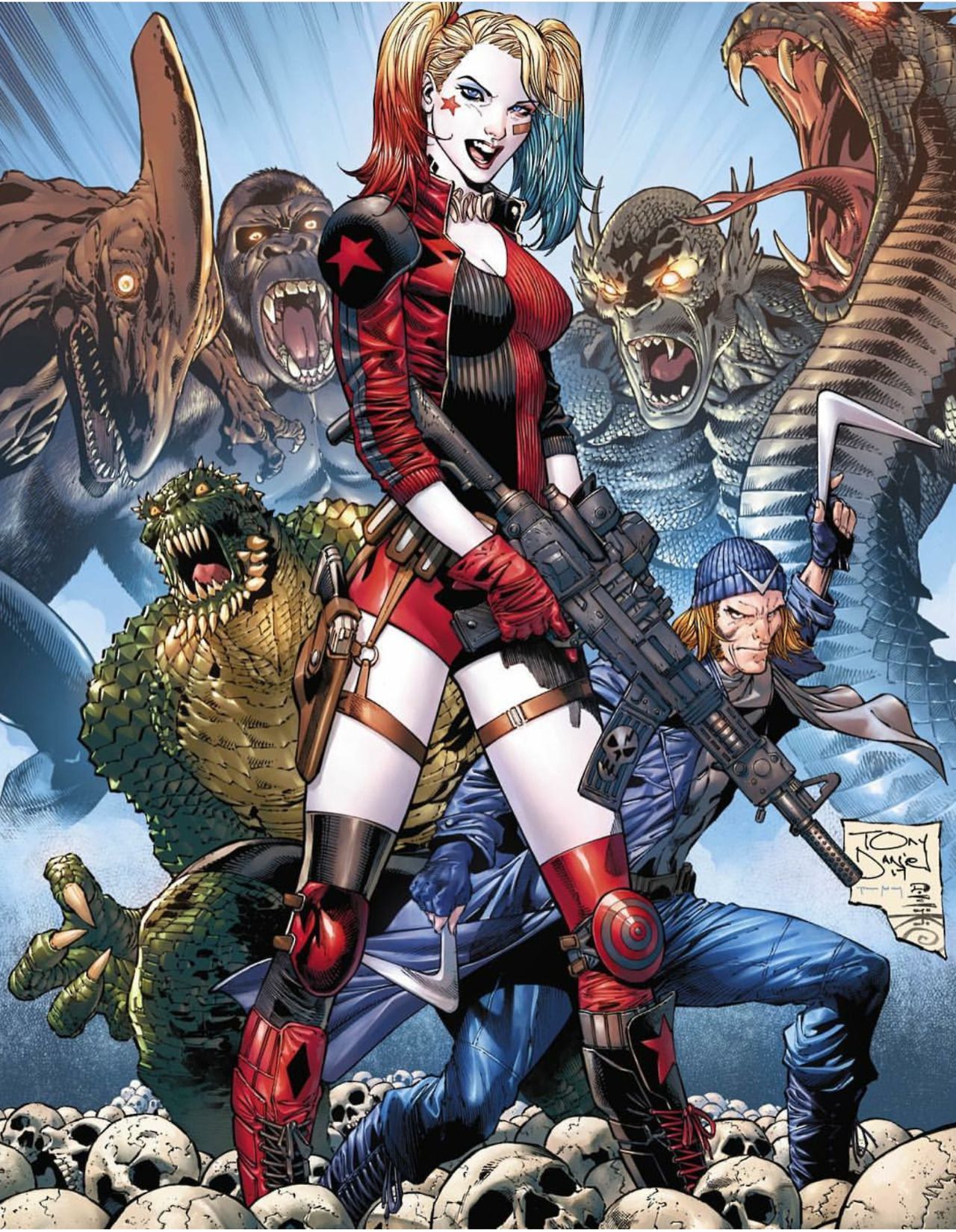 Depiction of Harley Quinn holding a rifle and standing in front of Captain Boomerang, Killer Croc, and a group of large monsters.