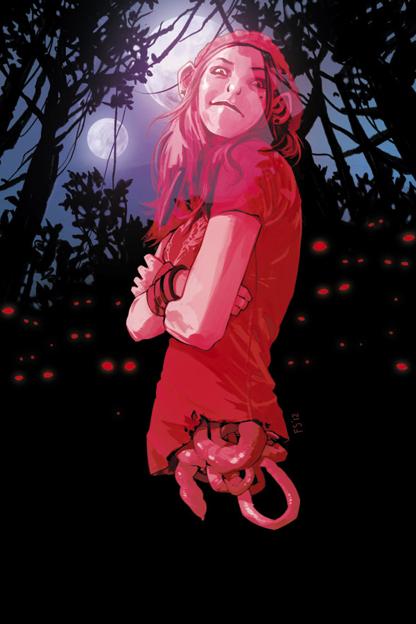 Depiction of Isabel floating in a forest in front of glowing, red eyes.