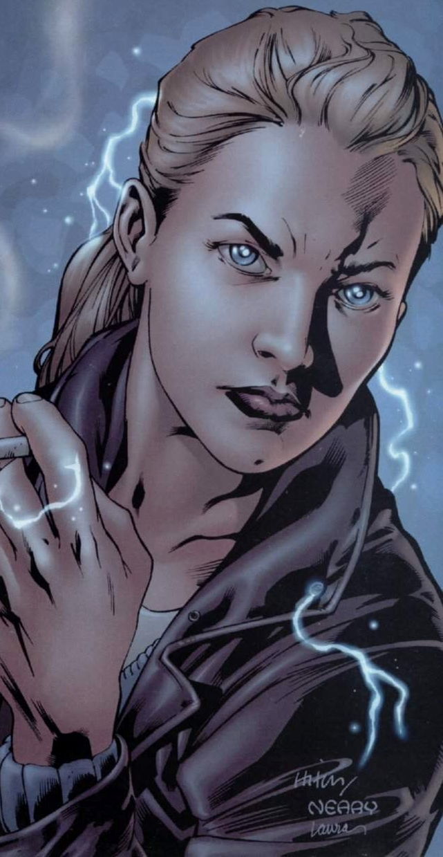 Depiction of Jenny smoking a cigarette with lightening coursing around her.
