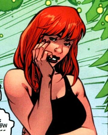 Depiction of Marlo looking at the viewer with hand hand placed passively on her cheek. Marlo is a bisexual character in the Hulk comics.