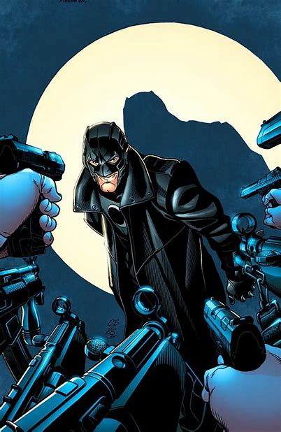 His body framed by a spotlight, Midnighter is depicted on the wrong end of many guns, all of which are pointed at him. Midnighter is a gay character with a power set similar to Batman.