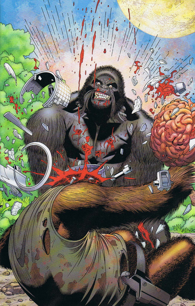 Depiction of Monsieur Mallah smashing brutally beating another ape. Monsieur Mallah is a gay supervillain in DC Comics who also happens to be an ape.