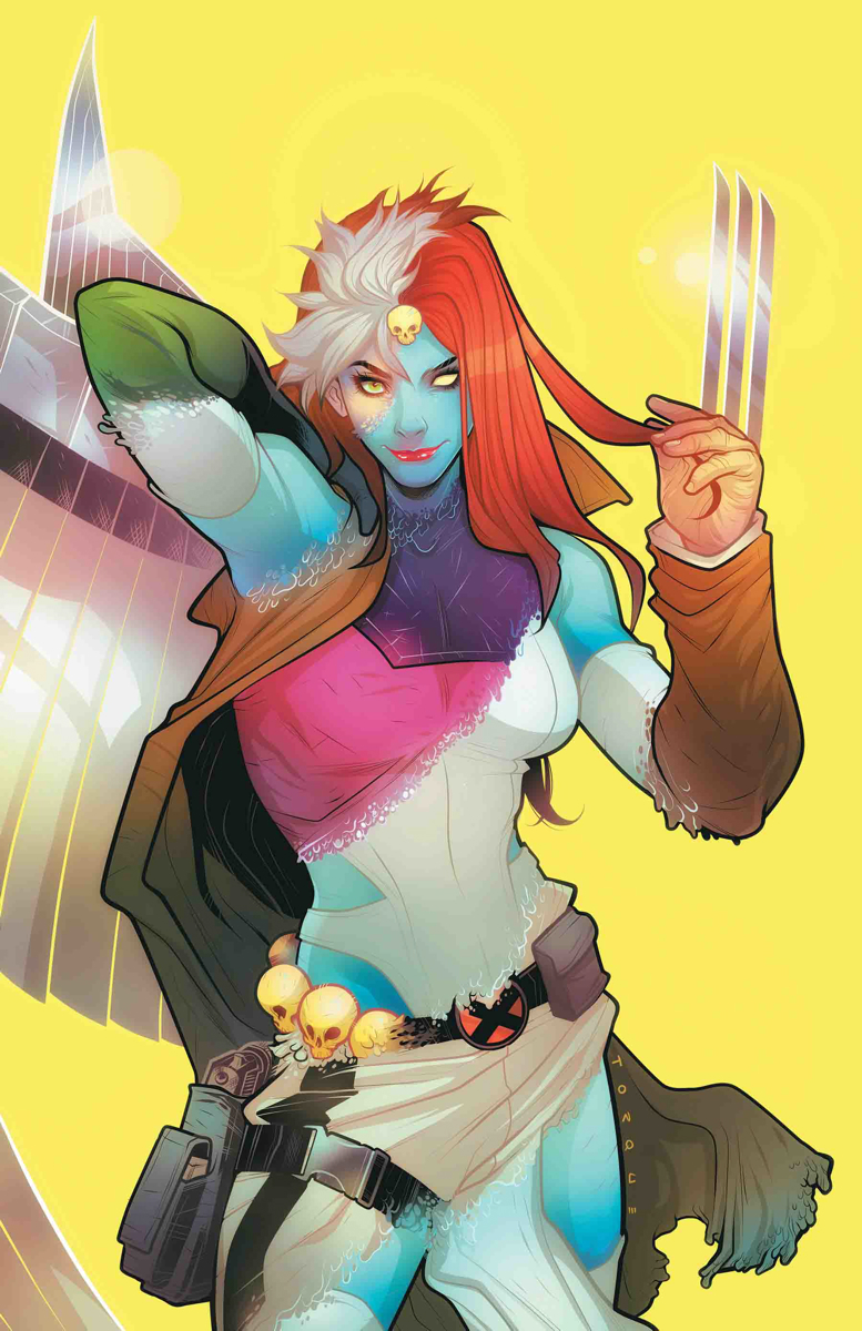 Depiction of Mystique using her mutant, shapeshifting powers. Mystique is a bisexual character in the world of the X-Men.