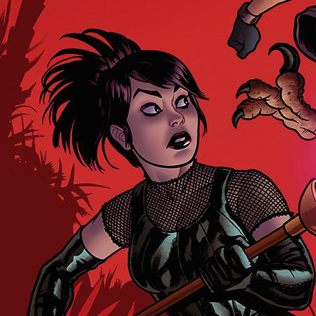 Depiction of Nico looking over her shoulder and holding the Staff of One. Nico Minorus is a Japanese bisexual woman who is the team leader in the comic Runaways.