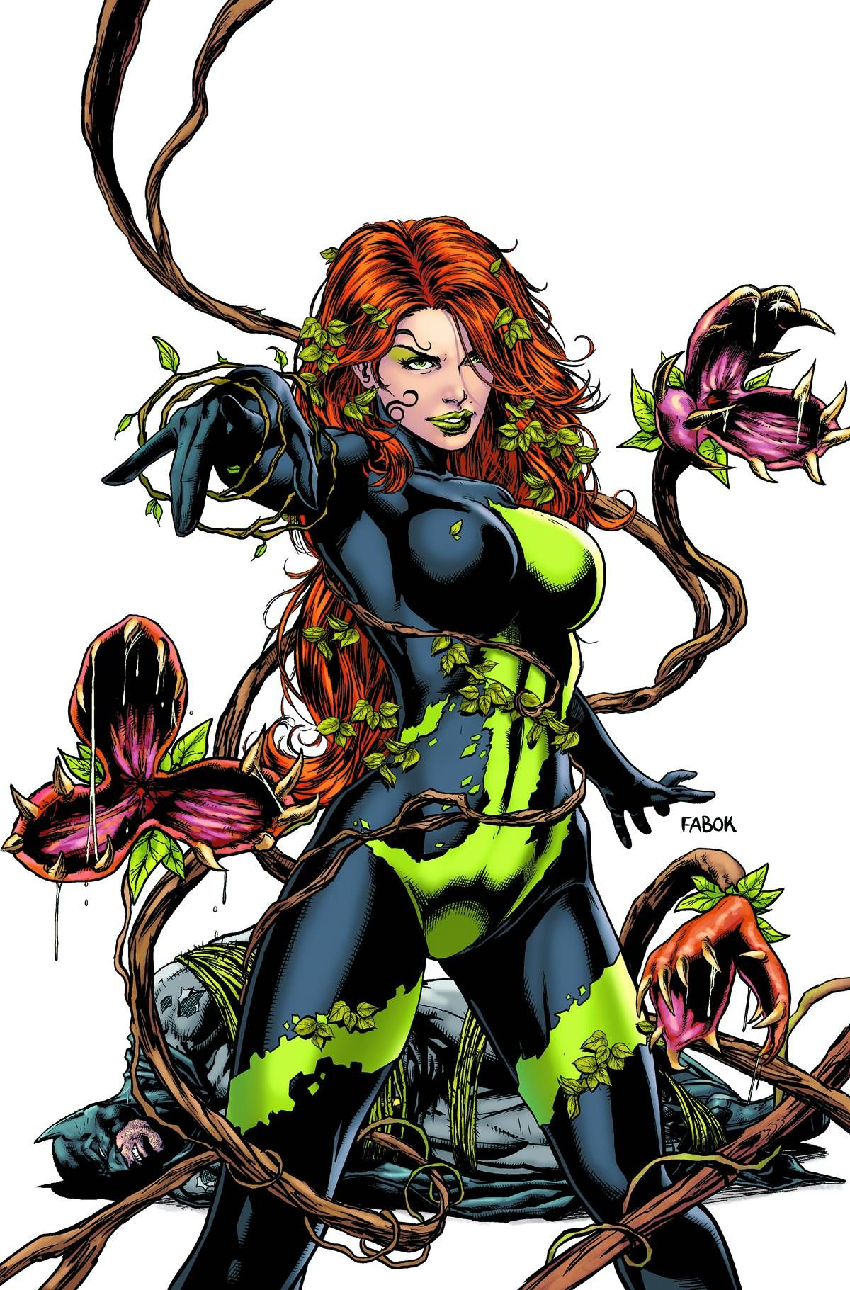 Depiction of Poison Ivy showing off her control over plant life. Poison Ivy is an important bisexual character in the DC universe.