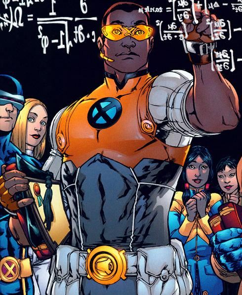 Depiction of Prodigy standing confidently in front of various members of the X-Men while doing very complicated mathematics. Prodigy, a bisexual mutant, is a co-founder of the Young Avengers.