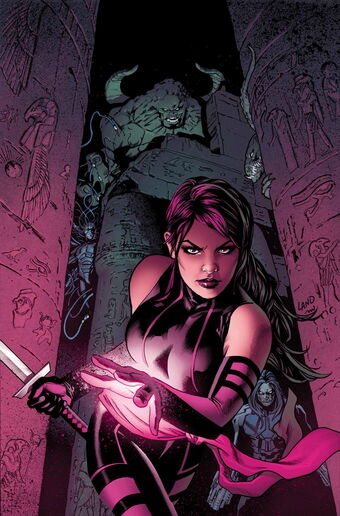 Depiction of Psylocke walking through a corridor with a sword in hand. Psylocke is a bisexual mutant in the X-Men books.