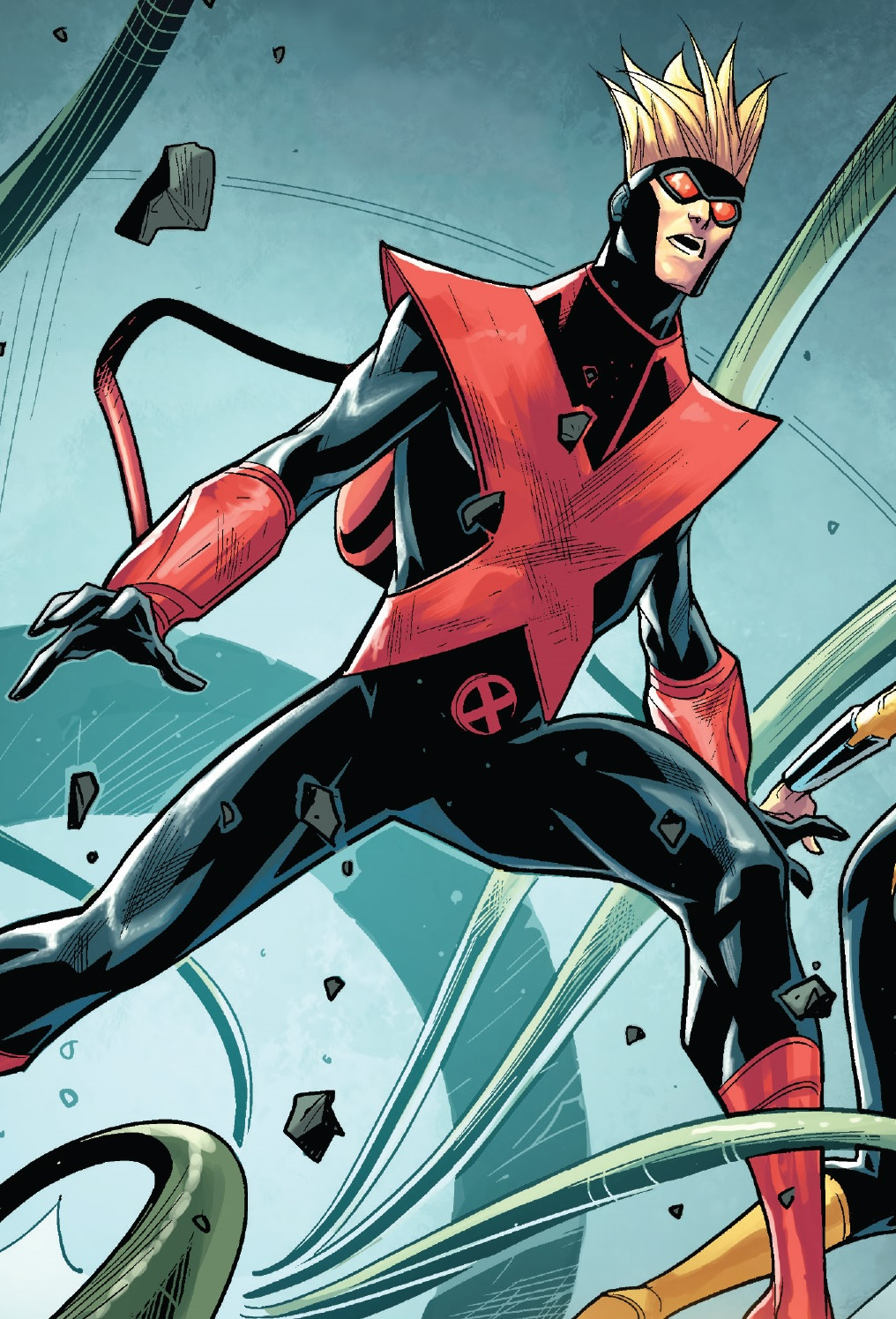 Depiction of Pyro bracing himself for a fight. Once a villain, Pyro is a bisexual member of the X-Men.