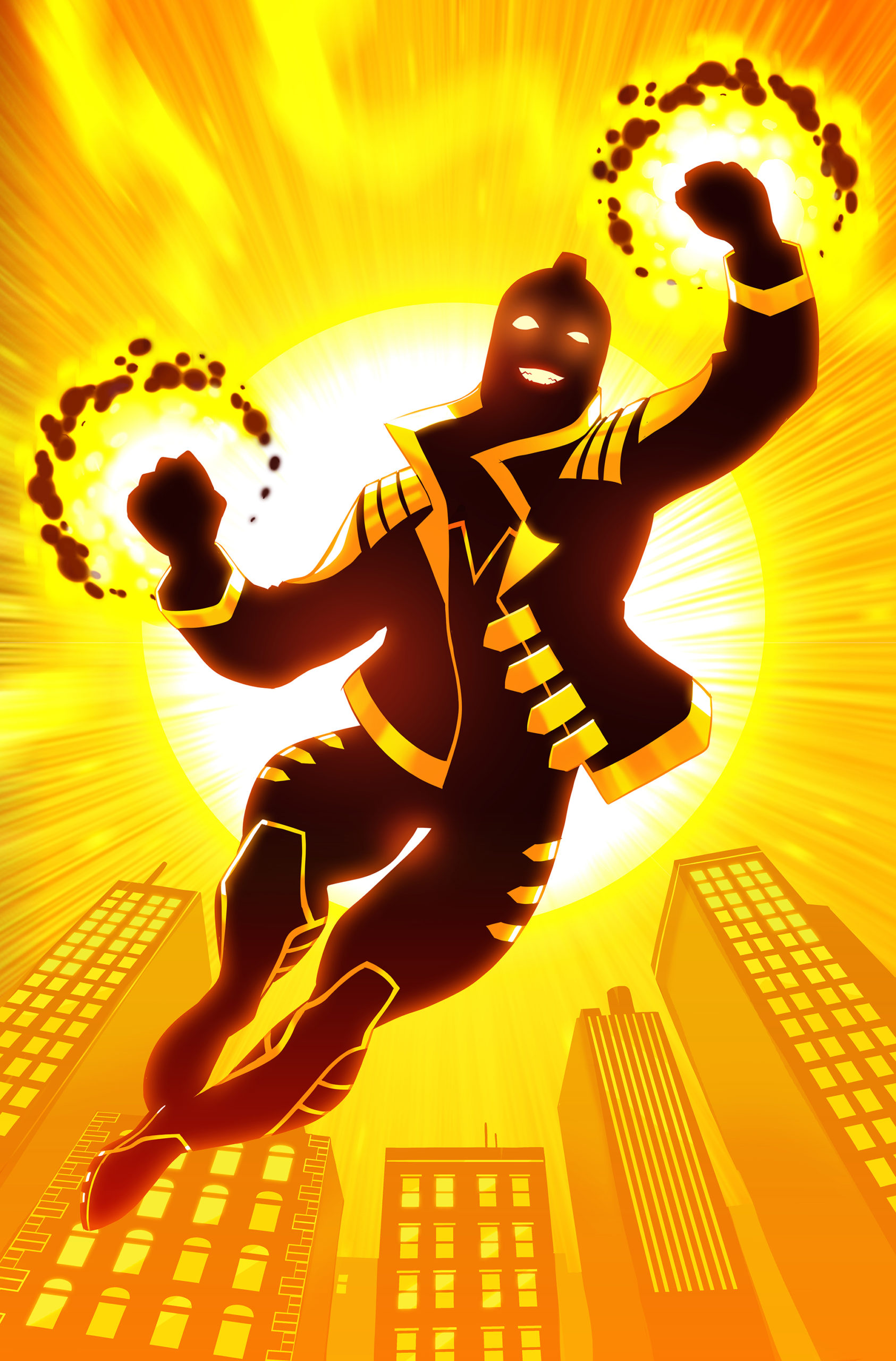 Depiction of The Ray flying in front of the son with a smile and fists ablaze. The Ray is a gay freedom fighter in the DC Universe.
