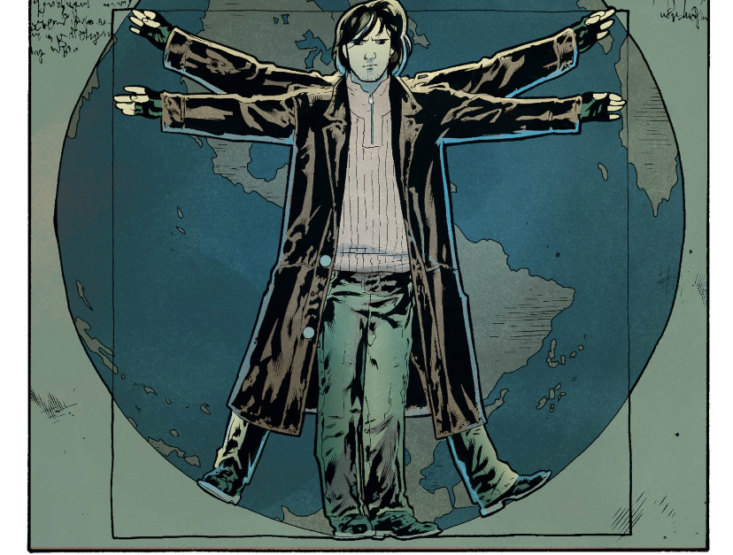 Depiction of Rictor in the same stance as Da Vinci's Vitruvian Man. Rictor is a gay mutant in X-Force and Excalibur.