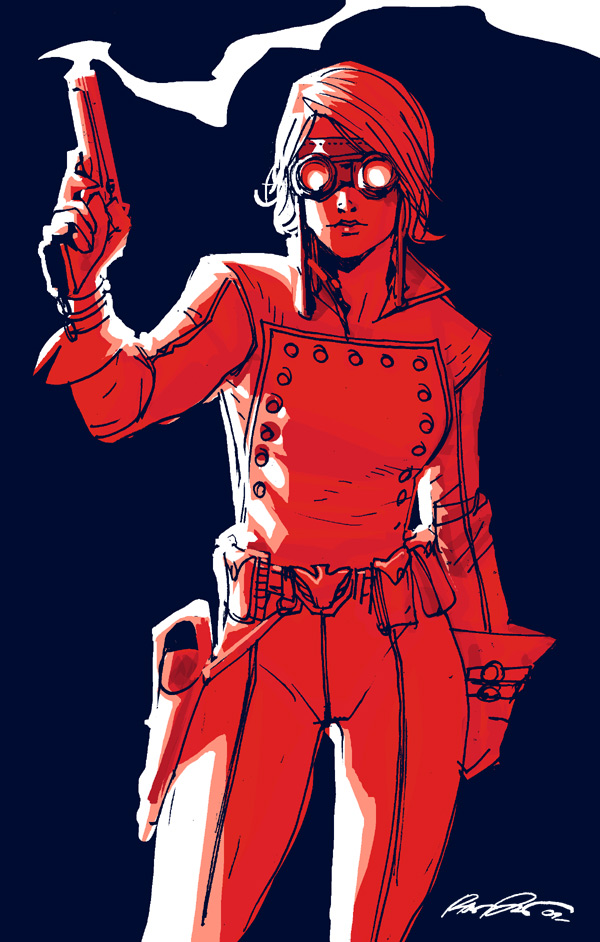 Depiction of Rikki in her Bucky outfit, holding a smoking gun. Rikki is a lesbian hero who has fought alongside Captain America.