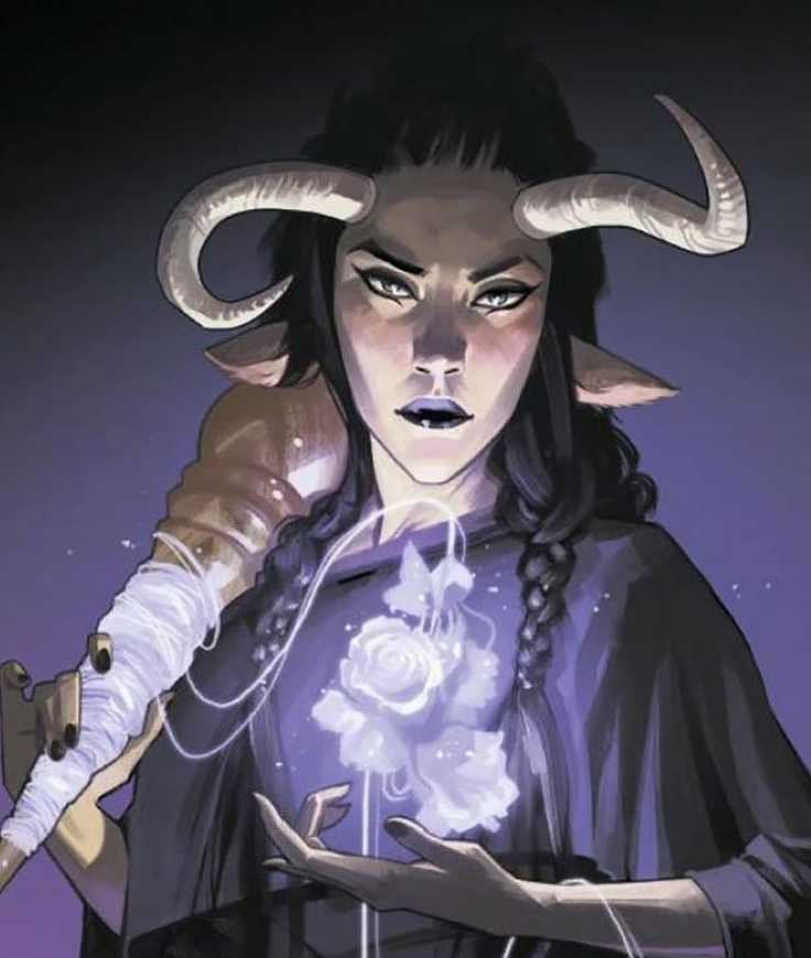 Petrichor, a transgender woman, displays her magical powers on the cover of Saga #39. This was a groundbreaking moment in representation for transgender comic characters.