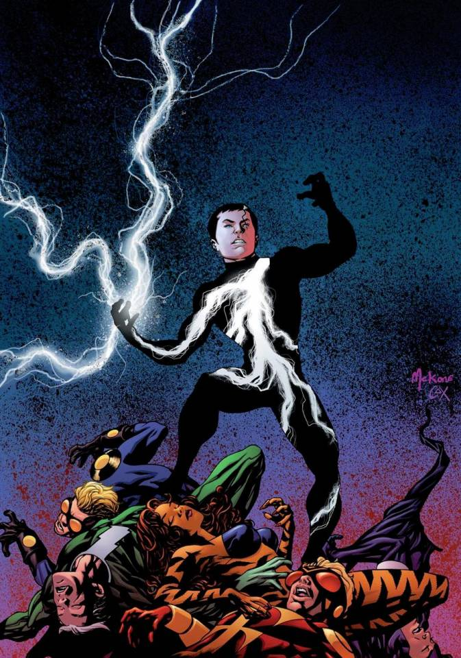 Depiction of Striker standing atop a mound made up of his fellow Avenger Academy teammates while controlling lighting. Striker is a gay hero who attends the Avengers Academy.