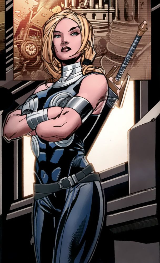 Depiction of Valkyrie standing in an intimidating stance with her sword strapped to her back and her arms crossed. Valkyrie is a bisexual Asgardian.
