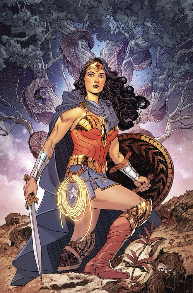Depiction of Wonder Woman standing stoically holding her sword and shield, with her lasso of truth strapped to her side. Wonder Woman is a bisexual Amazonian-Olympian Goddess.