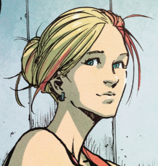 Depiction of Zoe smirking. Zoe is a lesbian supporting character in the Ms. Marvel comic.