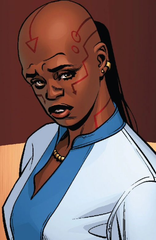 Depiction of Ayo standing in dress clothing with traditional Wakandan face tattoos and a pony tail.