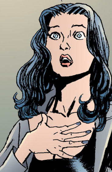 Echo in a shocked pose with her hand over her chest. Echo is a transgender character in the Sandman universe