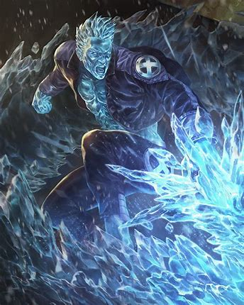 Depiction of Iceman showing off his Omega-level ice powers.
