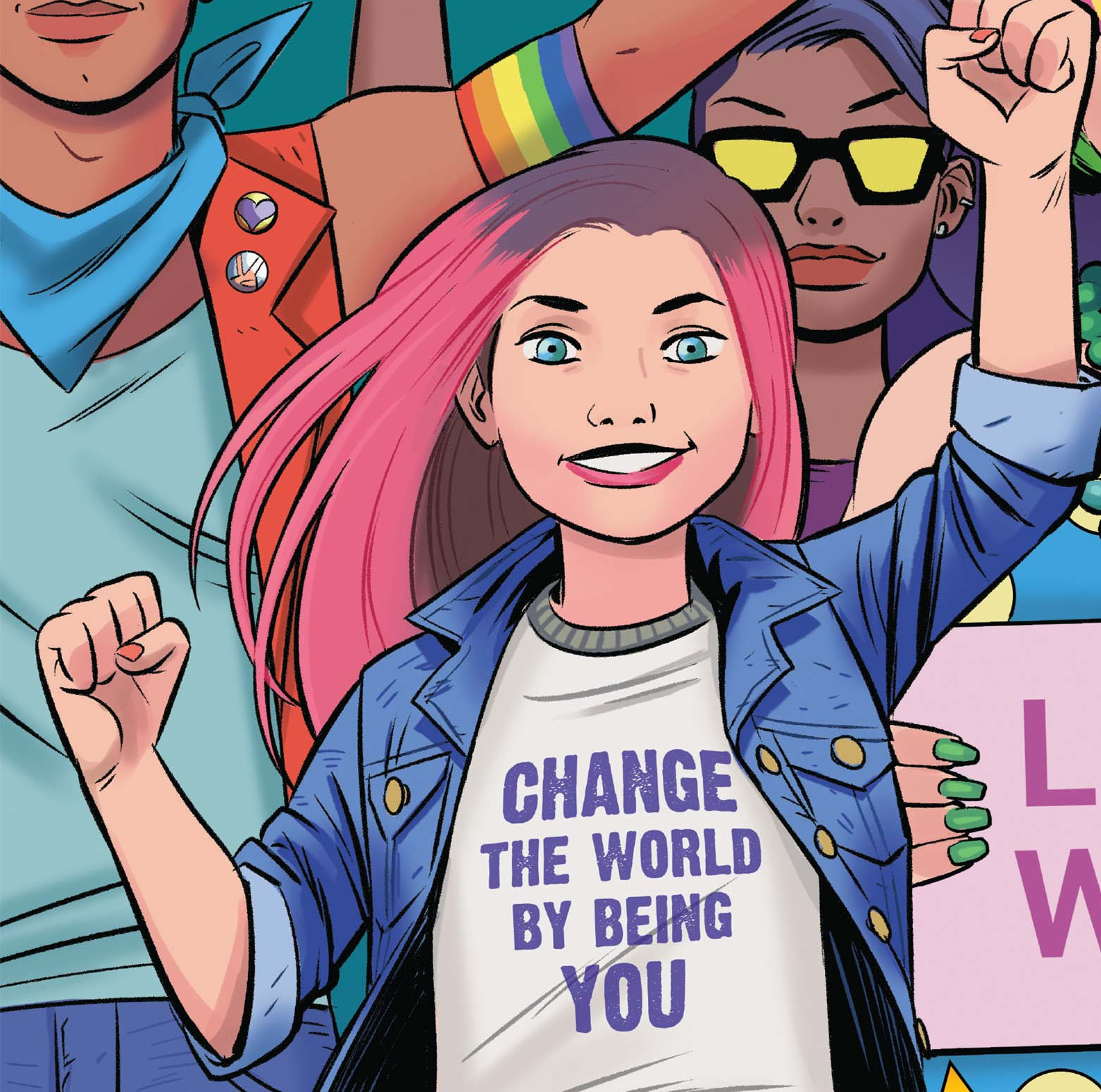 "Rebekah's comic self with her fist raised and a shirt which reads ""Change the world by being you."" Rebekah is the first transgender kid in the Marvel"