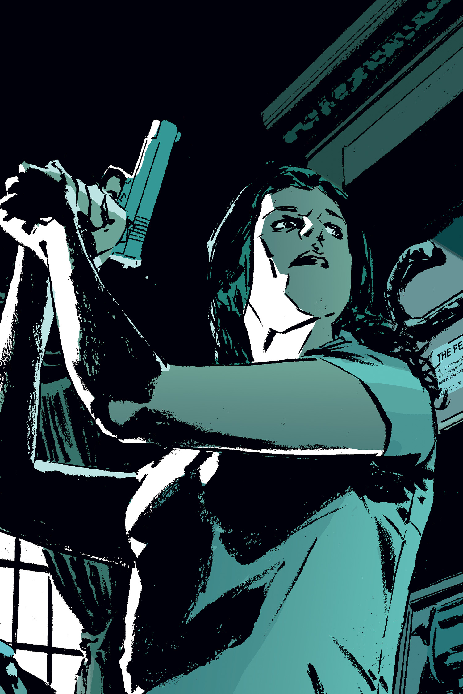 Renee Montoya with her gun drawn in a classic panel from Gotham Knights. Montoya is a lesbian Latina superhero who stars in the world of DC Comics.