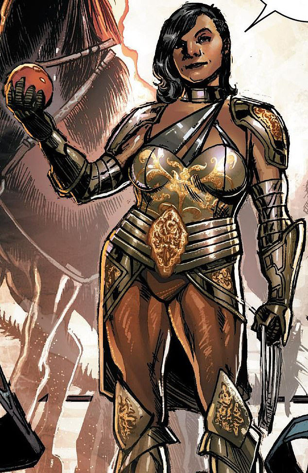 Sera, a groundbreaking transgender comic character in the Thor books, in a heroic pose.