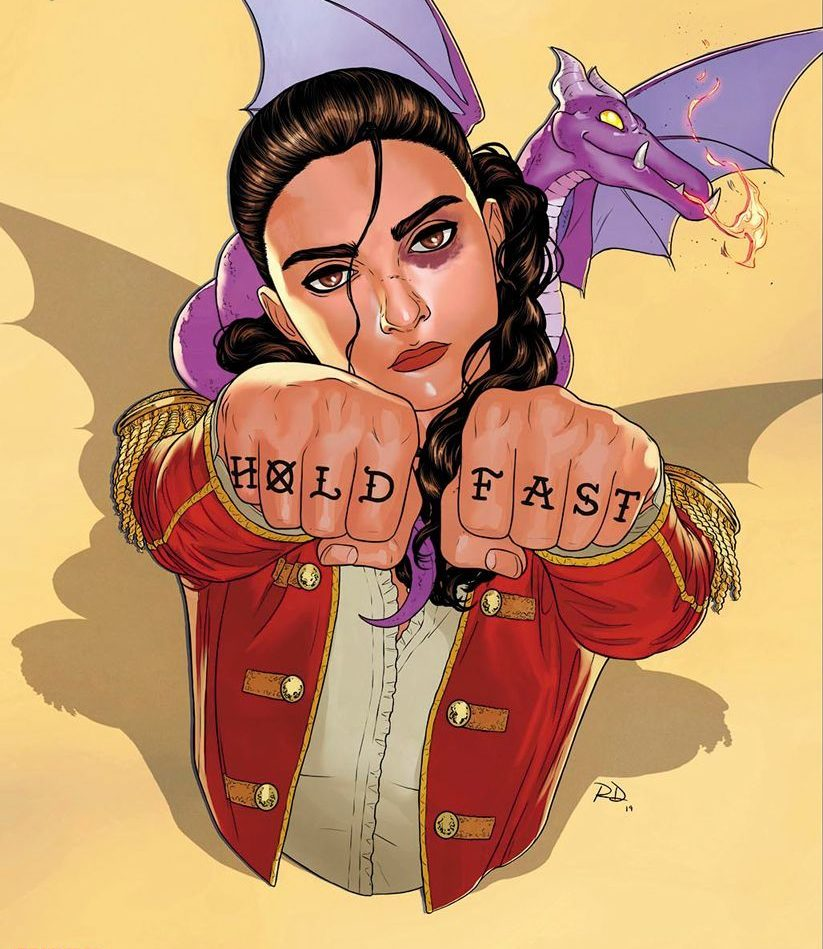 """Depiction of Kate Pryde with Lockjaw on her shoulder and """"HELD FAST"""" tattooed on her knuckles."""