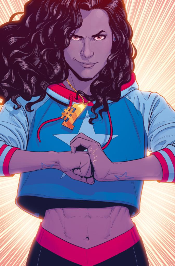 Depiction of America Chavez cracking her knuckles and smirking. She is one of the first lesbian comic characters.