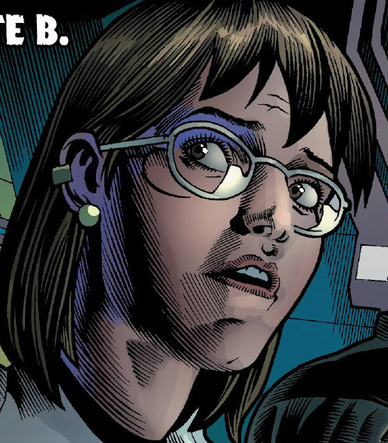 Depiction of Dr. McGowan looking over her shoulder dramatically. Dr. McGowan is a transgender character who works with the Hulk.
