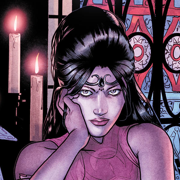 Madame Xanadu, a bisexual sorceress in the DC universe, is depicted here as thoughtful and sultry with her chin resting on her hand.
