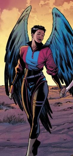 Depiction of The Aerie walking happily in front of a colorful sky. The Aerie is a non-binary member of Suicide Squad.